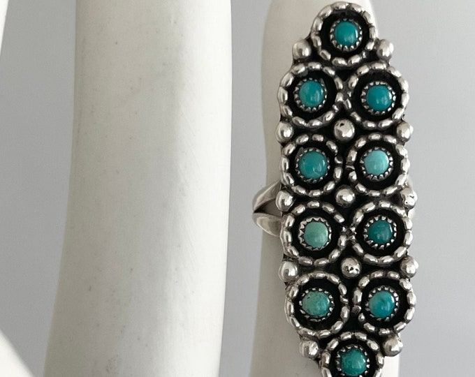 Long Zuni Turquoise Ring Vintage Native American Sterling Silver Petit Point Needlepoint Turquoise Stones Size 6.25