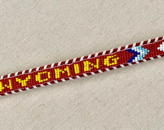 Kids Wyoming Leather Belt Vintage Western Tooled Leather Beaded Arrows Seed Beads Girls Boys Teen XXS XS 24
