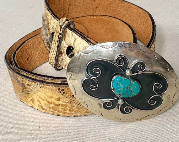 Python Belt Turquoise Buckle Vintage Snakeskin and Leather Strap Big Silver Western Southwest Detachable Oval Buckle