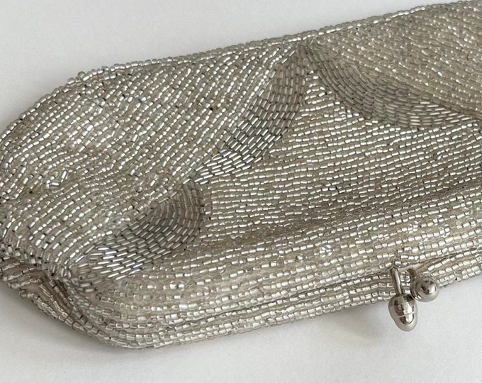 Japan Silver Beaded Clutch Purse Made in Japan by Gala Vintage Retro Classic Evening Bag Satin Lined Bridal Wedding Cocktail