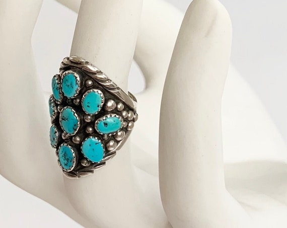 Kingman Turquoise Cluster Ring Vintage Native American Navajo Sterling Silver Oversized Size 7.5