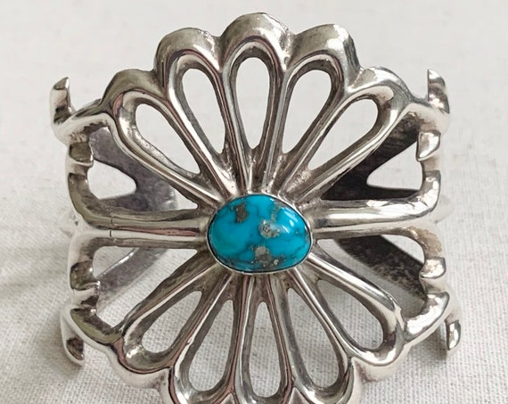 Wide Turquoise Cuff Bracelet Cast Sterling Silver Southwest Native American Open Ornate Band Oval Heavy 78g
