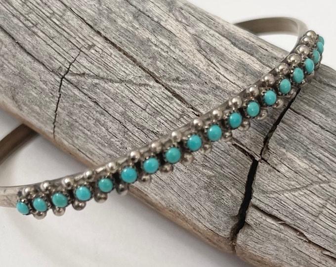 Thin Zuni Turquoise Bracelet Cuff Signed TAH Vintage Native American Sterling Silver Tiny Snake Eye Set Stones