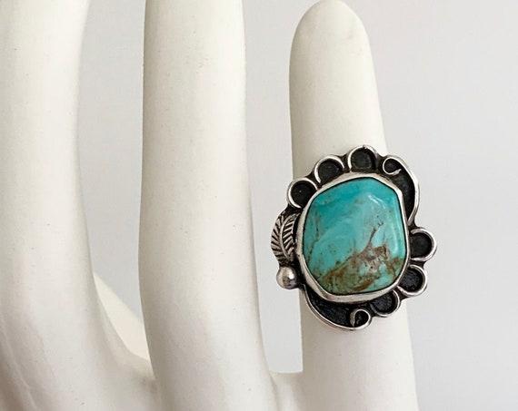 50s Navajo Turquoise Ring Vintage Native American Sterling Silver Asymmetrical Leaf Floral Split Shank Band Size 7.5