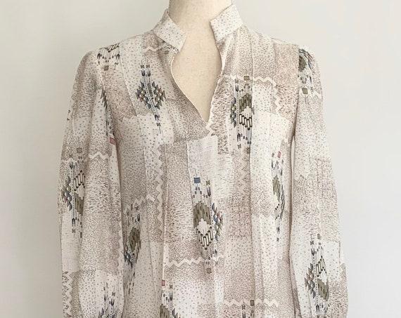 70s White Maxi Dress Long Floor Length Vintage Boho Folk Prairie Ethnic Dress Caftan Kaftan XS S