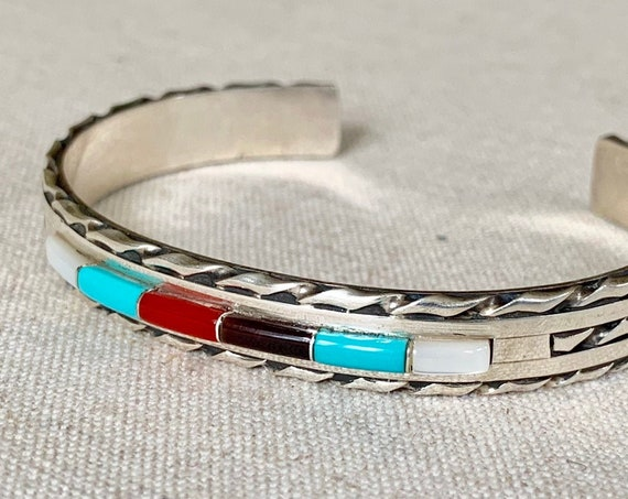 Panteah Zuni Turquoise Bracelet Cuff Vintage Native American Sterling Silver MOP Onyx Coral Channel Inlay Gus & Lorie Panteah New Mexico
