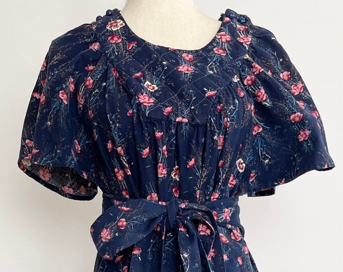 Blue Floral Prairie Dress Folk House Dress Vintage Soft Cotton Flannel Flutter Sleeves Quilted Neckline Detachable Tie Waist Belt XS S