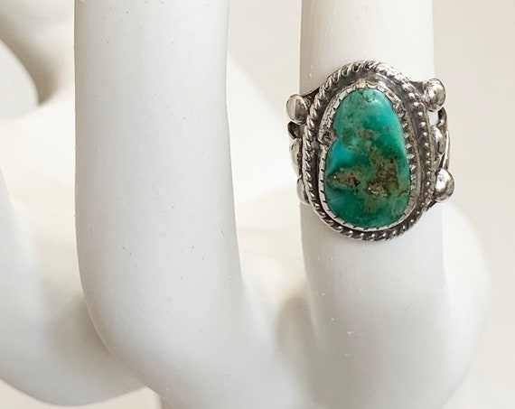 Vintage Navajo Turquoise Ring Vintage Native American Handmade Sterling Silver Triple Shank Band Size 6.75