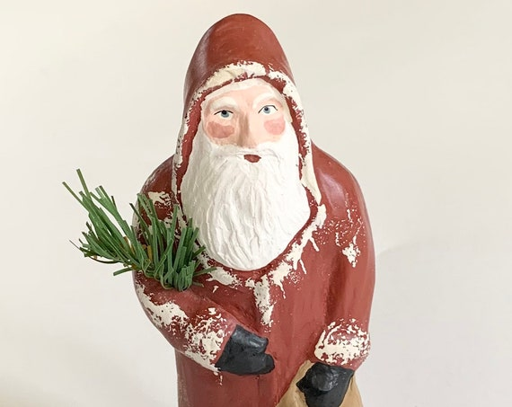 Vintage Santa Claus Figurine Artist Signed Dated 1984 Handmade Plaster St Nicholas Figure Christmas Holiday Decor