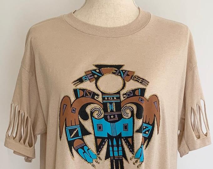 80s Southwest Fringe Tshirt Tee T Shirt Tee Cotton Blend Vintage 80s Jerzees Made in USA Tribal Festival Beaded Fringe Hem Size S M