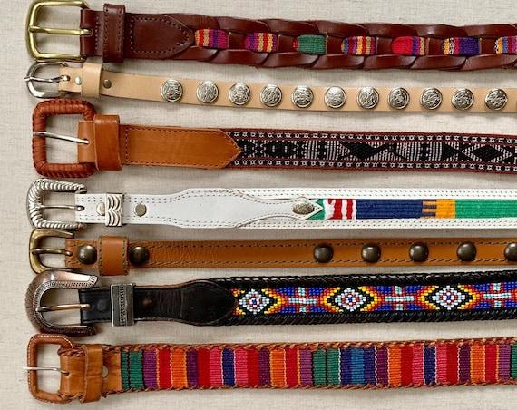 Boho Ethnic Embellished Belt Leather Belts Vintage Belts Beaded Concho Woven Textile Inlay Western Tips
