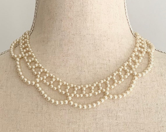 Beaded Pearl Collar Bib Necklace Scallop Edges Vintage 50s Gold Tone Metal Faux Pearl