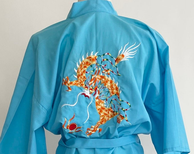 Chinese Dragon Embroidered Robe Kimono Vintage Made in Hong Kong Detachable Tie Waist Belt Turquoise Blue Cotton Sleepwear Loungewear XS S
