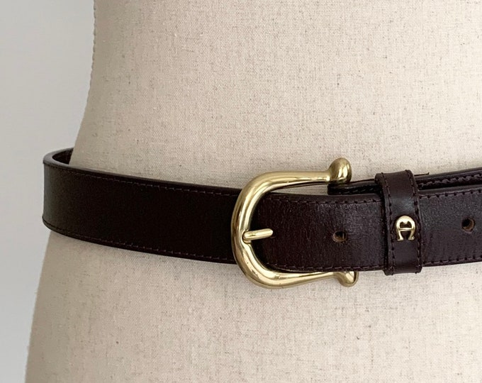 Etienne Aigner Belt Brown Textured Leather Vintage Leather Goods Women's Belts Brass Tone Buckle and Logo