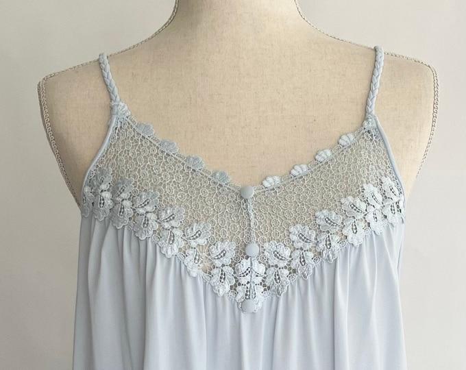 Long Blue Nylon Nightgown Braided Spaghetti Straps Flowy Easy Fit Womens Sleepwear House Dress M