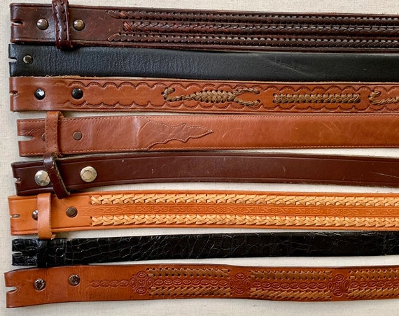 Tooled Leather Belt Strap Vintage Snap On Detachable Distressed Leather Western Rodeo Mens Women's Belts