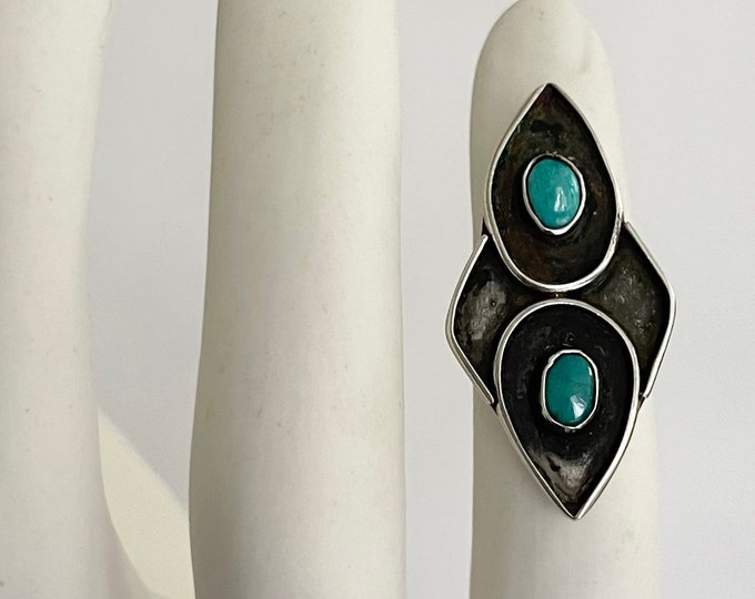 Old Pawn Turquoise Ring Multi Two Stone Vintage 50s Native American Navajo Sterling Silver Elongated Statement Ring Size 6.5