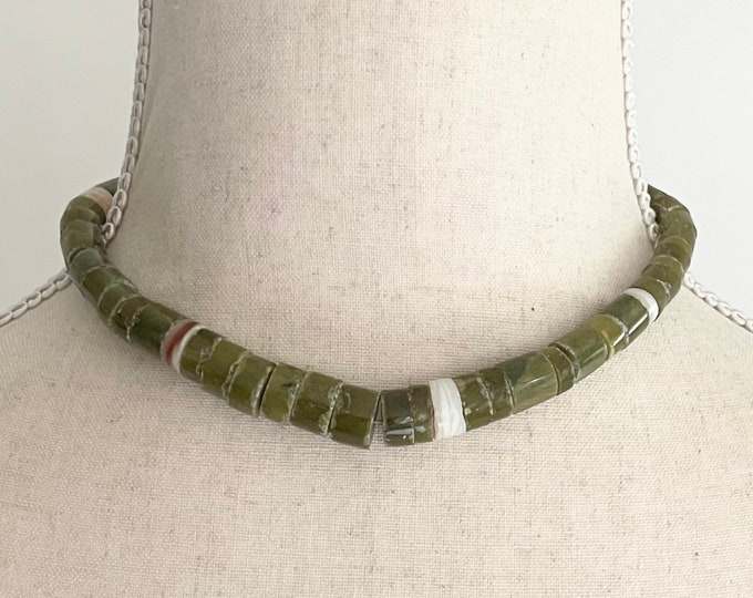Old Heishi Choker Necklace Vintage Antique Native American Santo Domingo Rustic Stone White Shell Beads
