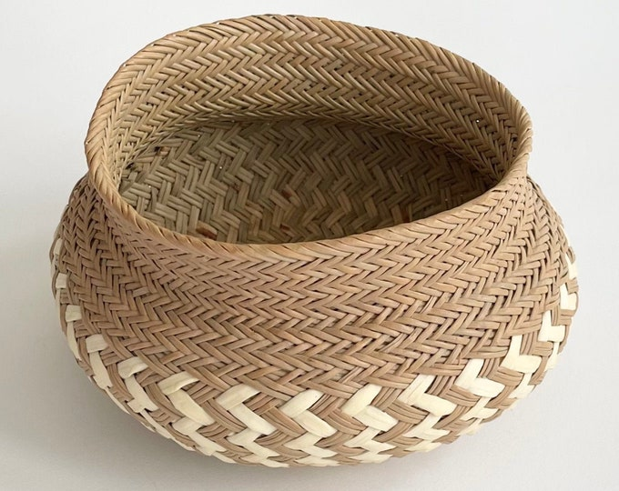 Handmade Basket Bowl Pot Two Tone Beige Brown Vintage Artisan Crafted Hand Woven Small Size