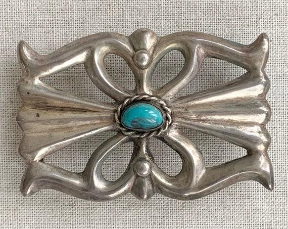 Sterling Turquoise Belt Buckle Sandcast Sterling Silver Vintage Native American Navajo Artist Signed HS