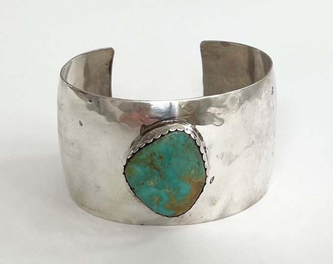 Wide Navajo Turquoise Cuff Bracelet Cuff Vintage Southwest Native American Signed B Sterling Silver Thick Wide Band Southwest