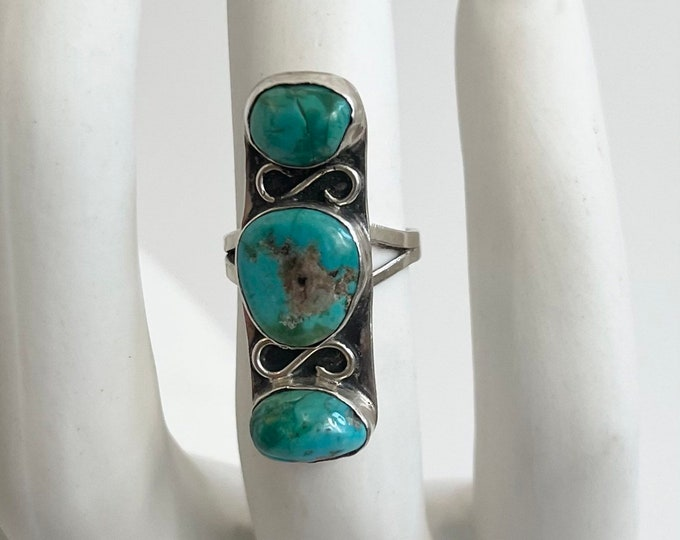 Long Turquoise Ring Triple Three Multi Stone Vintage Native American Navajo Old Pawn Sterling Silver Elongated Statement Ring Size 7.5