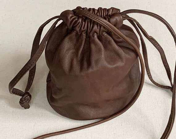 Brown Leather Pouch Purse Bag Cross Body Handmade Vintage Drawstring Closure Super Buttery Soft