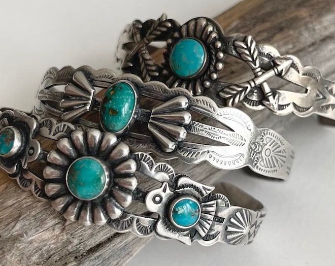 Fred Harvey Turquoise Bracelet Cuff Vintage Native American Navajo Hand Stamped Double Crossed Arrow Thunderbird Petite Small Ladies Wrist