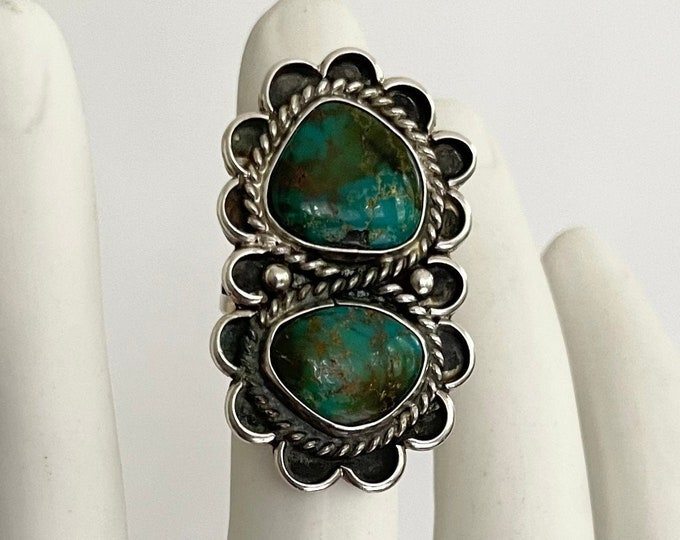 Big Navajo Turquoise Ring Old Pawn Native Aermican Double Two Stones Multi Stone Style Vintage Sterling Silver Oversized Size 9