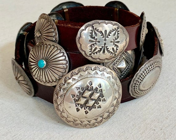 Sterling Silver Concho Belt Vintage Native American Navajo Artist Signed Aspen Hawk Western Turquoise Belts