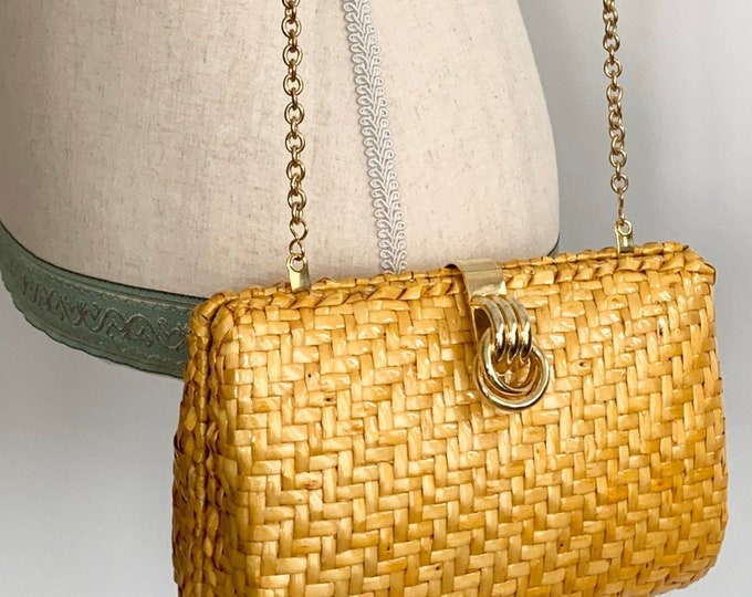 Yellow Wicker Purse Clutch Handbag Vintage 80s Talbots Rattan Weave Woven Gold Tone Chain and Clasp