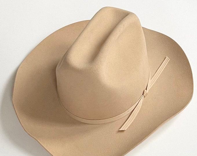 Beige Cowboy Hat Vintage Silver Spur B Bar H Made in USA Wool Fur Blend Womens Mens Western Hats Size 7