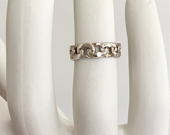 Chain Link Ring Band Ring Sterling Silver Vintage Rings Simple Minimalist Stackable Links Size 7.5