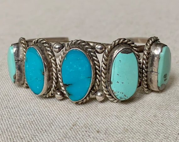Old Pawn Turquoise Bracelet Cuff Vintage Native American Navajo Sterling Silver Green Turquoise Jewelry Big Statement