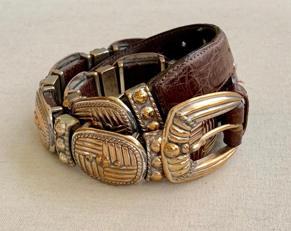 Heavy Brighton Concho Belt Vintage 1995 90s Brown Leather Strap Western Conchas Women's Belts S
