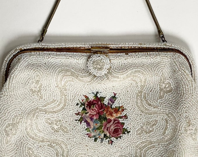 Antique French Beaded Clutch Purse Made in France White Glass Seed Bead Floral Needlepoint Wedding Bridal Evening Bag