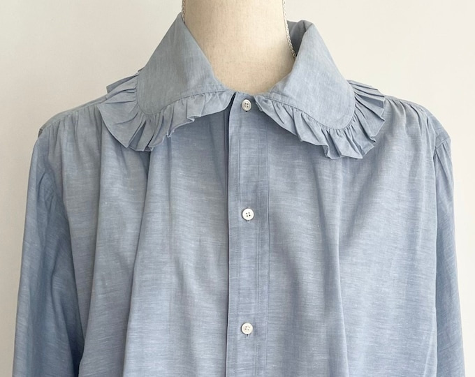 70s Calvin Klein Shirt Vintage Light Chambray Blue Oversize Peter Pan Ruffle Collar Button Up Cotton Ramie Blouse XS