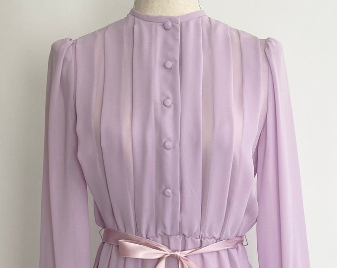 70s Pale Lavender Dress Never Worn Original Tags Vintage Zizi for Carroll Reed Ski Shops New Hampshire Elastic Belted Waist Light Purple XS