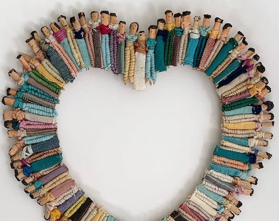Worry Doll Wall Hanging Art Frame Decor Vintage Handmade with Guatemalan Trouble Dolls Heart Shaped Southwest Folk Art Style