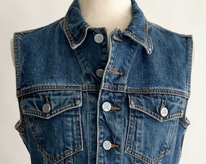 CK Calvin Klein Vest Denim Jean Vintage 90s Made in USA Embossed Buttons Front Pockets Medium Wash Size XS