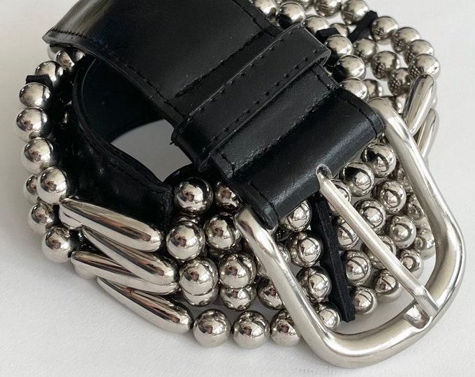 80s Express Beaded Belt Rock & Roll Rocker Style Vintage Express Compagnie Internationale Madee in Korea Black Leather Strap