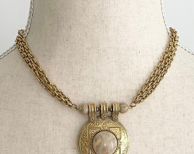 80s Gold Chain Choker Necklace Embossed Round Disk Medallion Pendant with Beige Neutral Stone Vintage 1928 Multi Strand Costume Jewelry