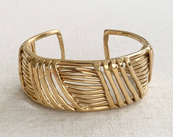 Open Work Gold Cuff Bracelet Wide Band Vintage Gold Tone Costume Jewelry Glam Minimalist