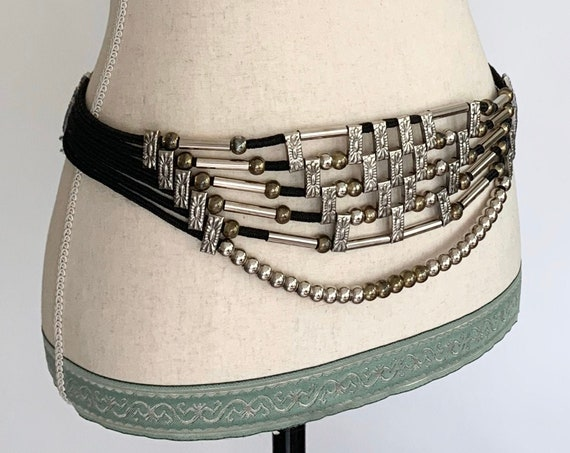 70s 80s Beaded Belt Wide Multi Strand with Gold and Silver Tone Beads Rock and Rock Disco Glam
