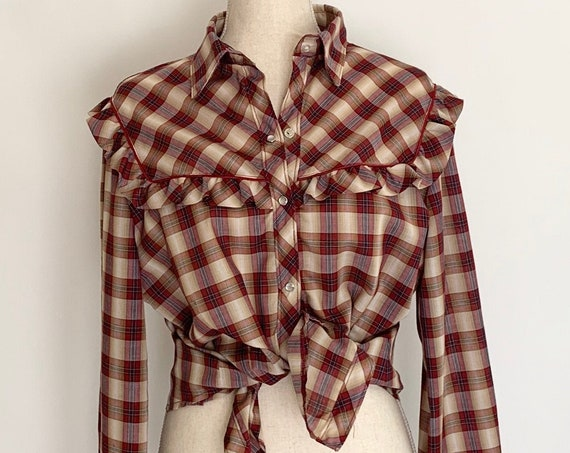 Western Plaid Snap Shirt Ruffle Fringe Vintage 70s Stage West by Prior Women's Rodeo Shirt Size S M