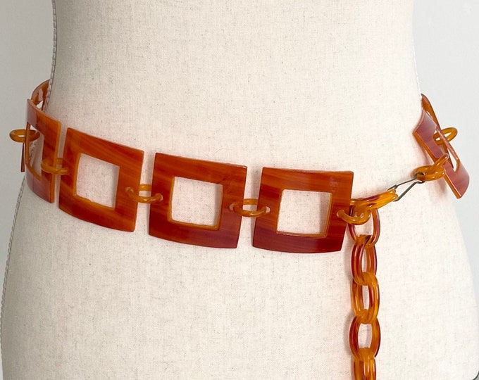 Butterscotch Chain Link Belt Vintage Square Links Adjustable Length Mid Century Modern Mod Style