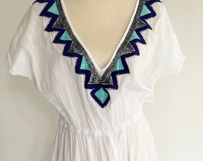 Indian Cotton Gauze Caftan Kaftan Maxi Long Beach Cover Up Vintage White with Turquoise Blue Silver Sequin V Neckline Made in India S