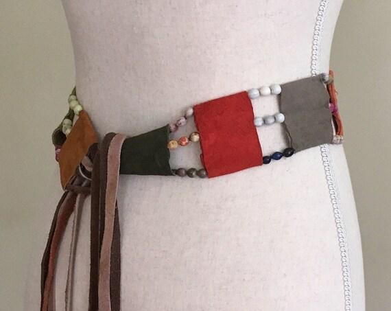 60s Suede Bead Belt Adjustable Tie Waist Vintage Hippie Folk Ethnic Boho Festival Crochet
