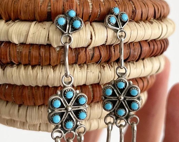 Needlepoint Turquoise Chandelier Earrings Vintage Native American Zuni Petit Point Fringe Long Dangle Earrings Delicate Dainty
