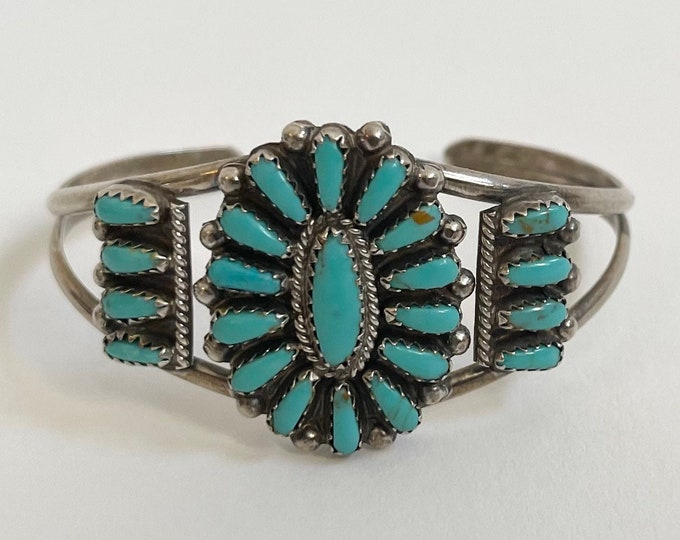 Zuni Turquoise Cluster Bracelet Cuff Vintage Native American Artist Signed Petit Point Needlepoint Floral Radial Flower